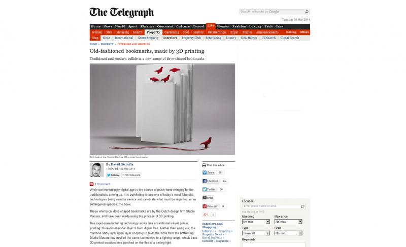online article about pero 3d printed bookmark dove shaped in daily telegraph