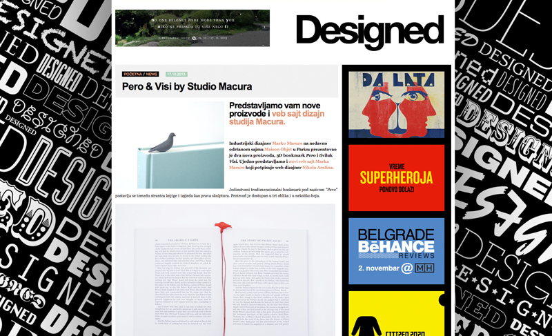 internet page from designed rs website about two new products of studio macura pero 3D printed black bookmark looking like a dove sitting on a book and the wooden coat hook