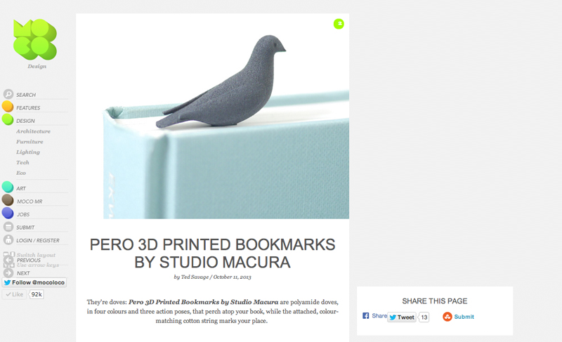 pero book mark black 3D printed dove sitting on top of a blue book marking the page as seen on Mocoloco website