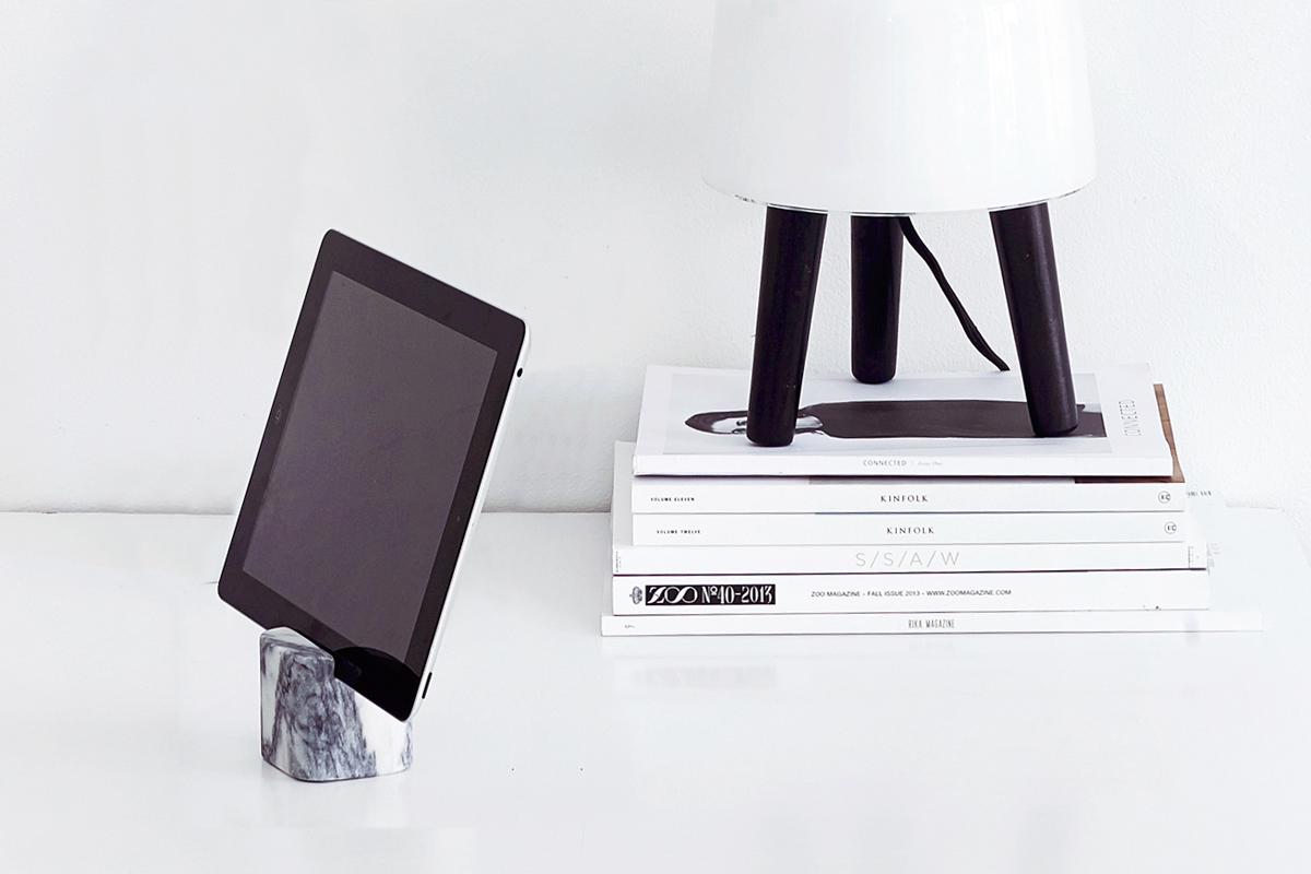 block marble tablet stand iPad