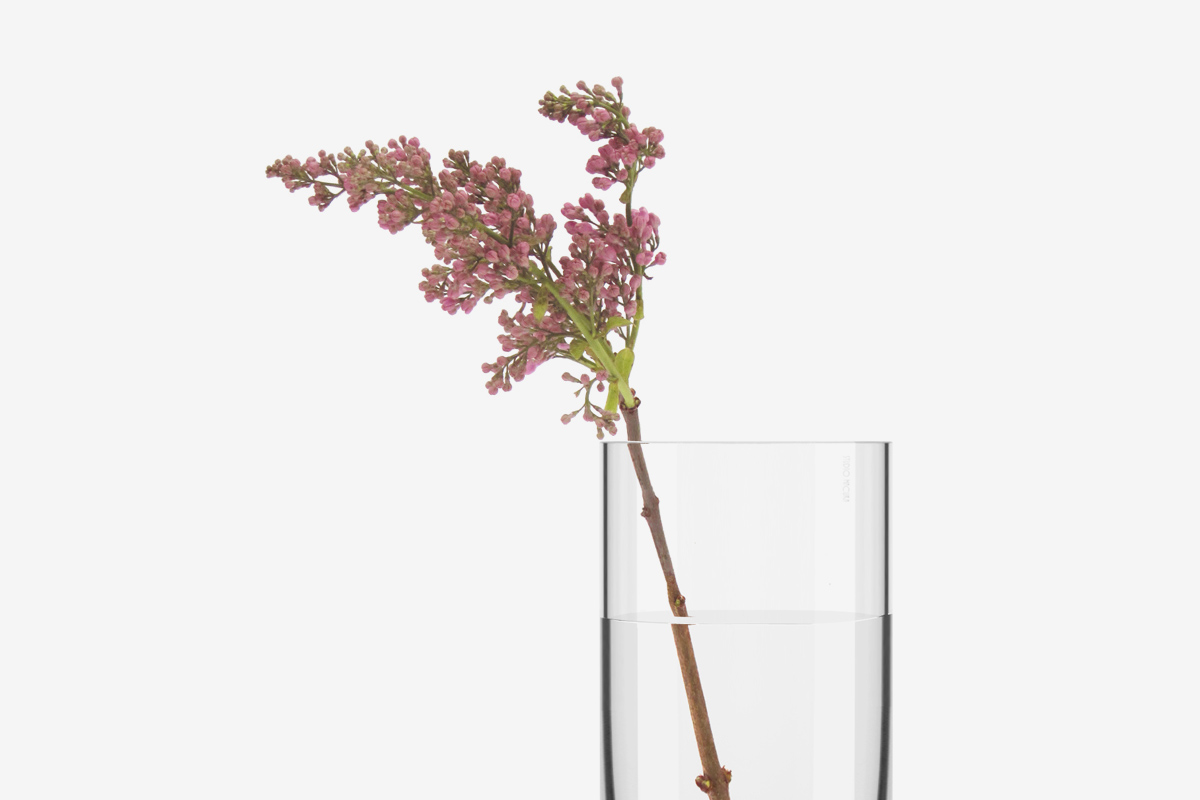 a vase with water with a purple flower inside