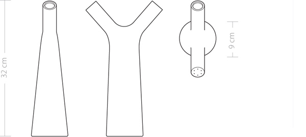 Techincal drawing of Boca a porcelain watering bottle depicted in side front and top view