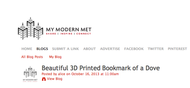 home page of My Modern Metropolis design blog with a feature of Pero 3D printed bookmark in the shape of a dove