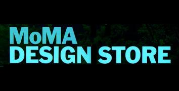 MoMA design store in turquoise letters on a black background