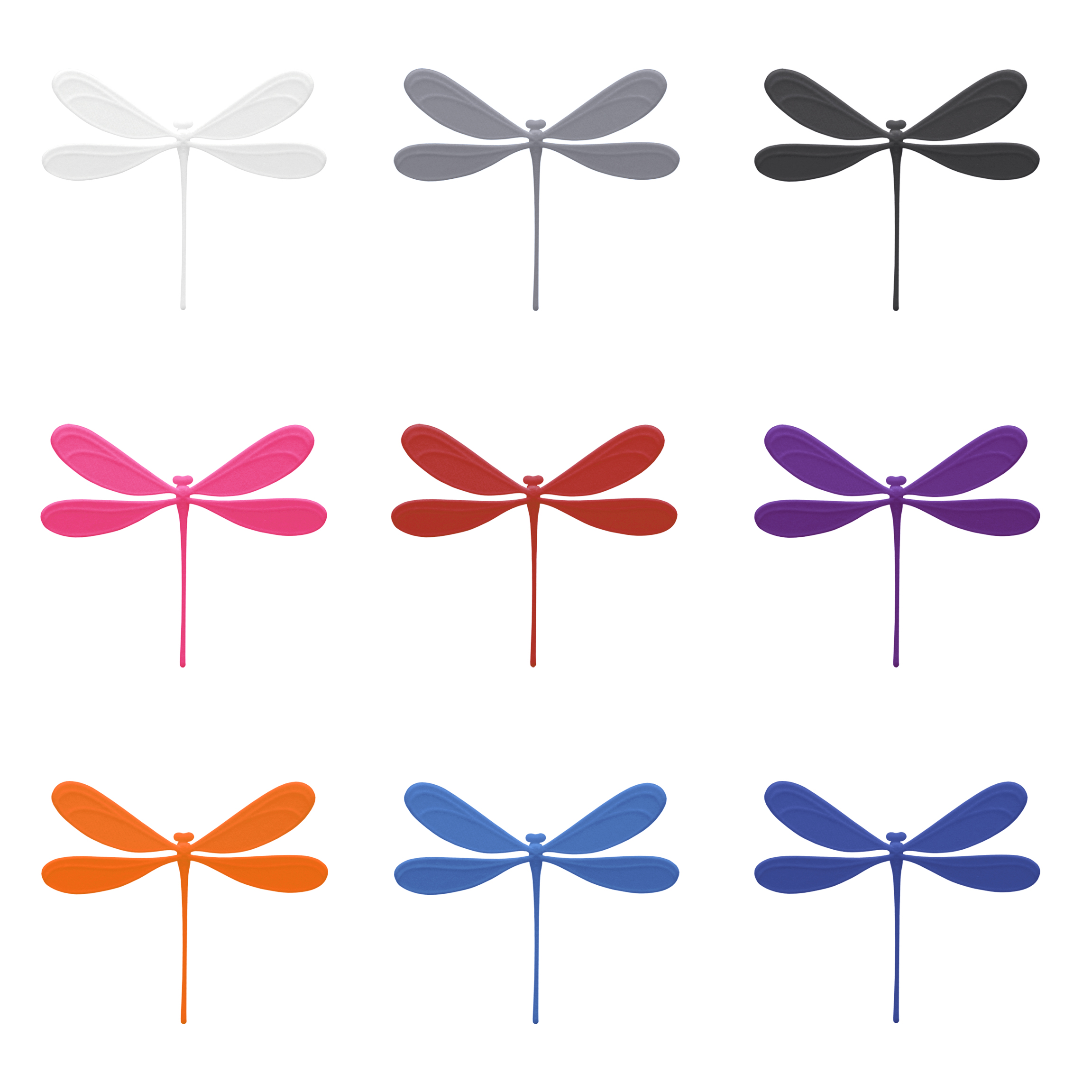 color overview of dragonfly shaped bookmarks